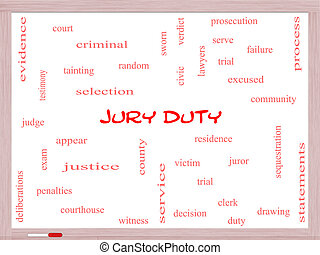 Jury Duty Word Cloud Concept on a Whiteboard with great...