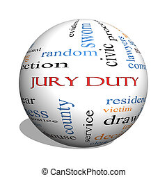 Jury Duty 3D sphere Word Cloud Concept with great terms such...