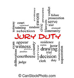 Jury Duty Word Cloud Concept in red caps with great terms...