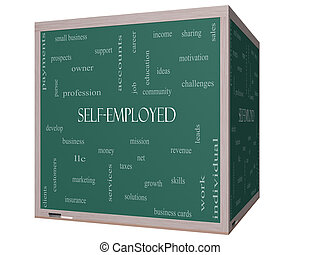 Self-Employed Word Cloud Concept on a 3D Blackboard with...
