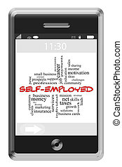 Self-Employed Word Cloud Concept on a Touchscreen Phone with...
