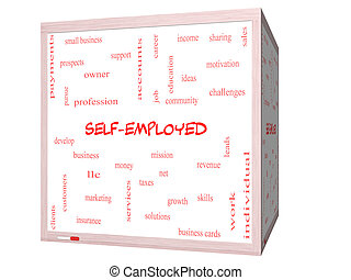 Self-Employed Word Cloud Concept on a 3D cube Whiteboard...