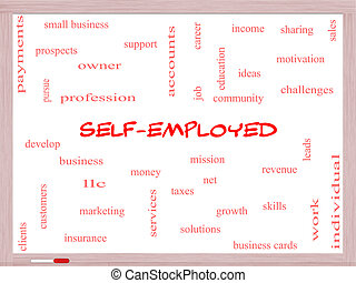 Self-Employed Word Cloud Concept on a Whiteboard with great...