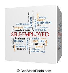 Self-Employed 3D cube Word Cloud Concept with great terms...