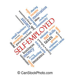 Self-Employed Word Cloud Concept angled with great terms...