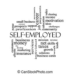 Self-Employed Word Cloud Concept in black and white with...