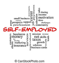 Self-Employed Word Cloud Concept in red caps with great...