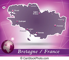 Map of Brittany with abstract background in violet