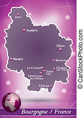Map of Burgundy with abstract background in violet