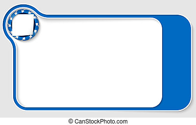 blue  box for text with arrows and paper
