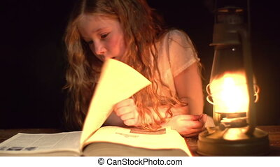 Reading at Night - Static shooting of little girl turning...