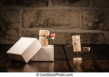 vinho, cortiça, figuras, conceito, Amor, presente