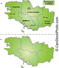Map of Brittany with borders in green