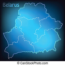 Map of Belarus with borders with bright colors