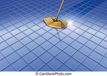 Mop and blue floor