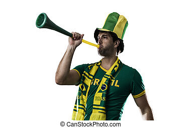 Brazilian Fan Celebrating, on a white background.