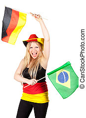 beautiful german soccer fan - Full isolated portrait of a...