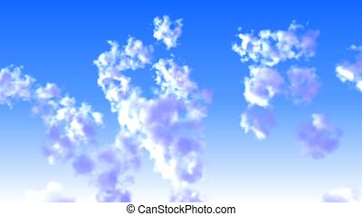 flying shuttle in clouds closeup,high altitude