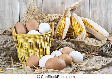 Fresh free range eggs - Basket with fresh range eggs and...