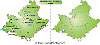 Map of Provence-Alpes-Cote d Azur with borders in green