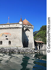 Magnificent medieval castle Chillon on Lake Geneva in...