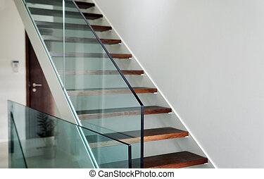 hardened glass balustrade in house - detail of hardened...