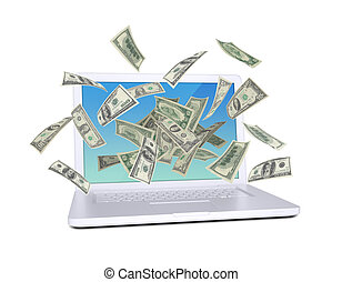 Dollar notes flying around the laptop