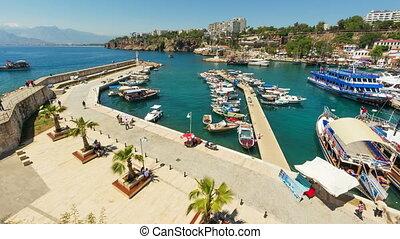 4K. Timelapse of marine traffic activity in old harbor in Antalya, Turkey