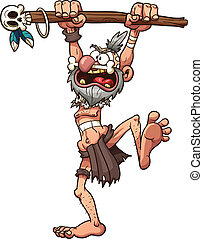 Witch doctor - Cartoon prehistoric witch doctor. Vector clip...