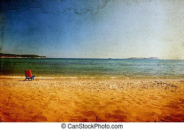 Sunbed on the beach - Vintage photo sunbed on the beach
