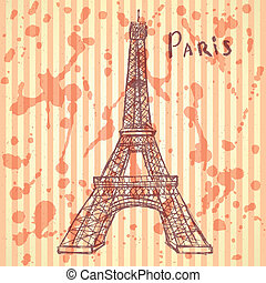 Sketch Eiffel tower, vector background eps 10 - Sketch...