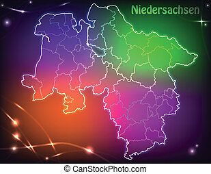 Map of Lower Saxony with borders with bright colors