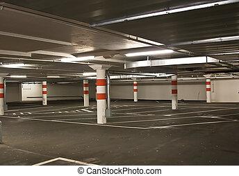 Underground parking in a shopping center