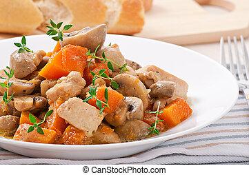 guisado, pollo, vegetales