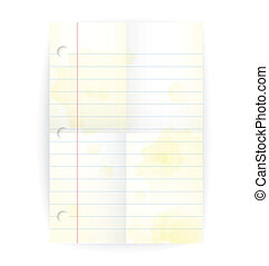 Vector old notepad ruled blank page with folds