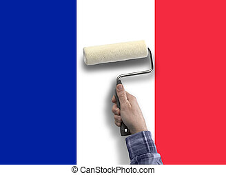 human hand with painting the flag from French - human hand...