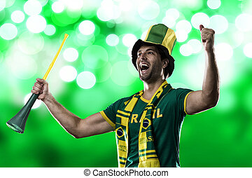 Brazilian Fan Celebrating, on a green background