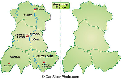 Map of auvergne with borders in pastel green