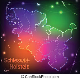 Map of Schleswig-Holstein with borders with bright colors