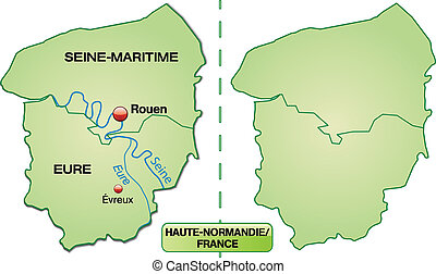 Map of Upper Normandy with borders in pastel green