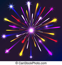 Graphic fireworks in black background