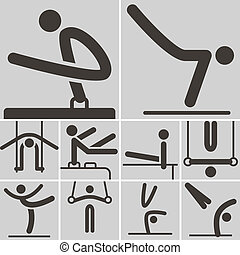 Gymnastics Artistic icons - Summer sports icons set -...