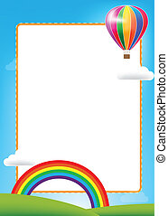 Balloon and rainbow with text box on blue sky background