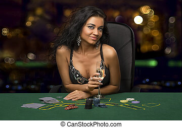 CHA, foncé-d'une chevelure, casino, verre, girl, jouer,...