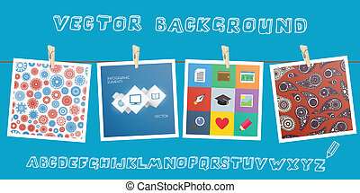 Background with hanging images and sketchnote alphabet....