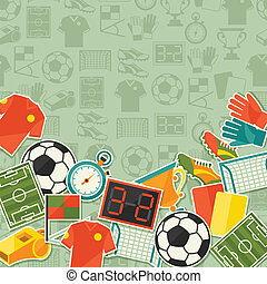 Sports background with soccer football sticker icons