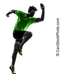 young man sprinter runner running silhouette