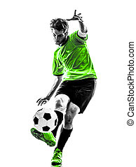 soccer football player young man kicking silhouette - one...