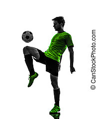 soccer football player young man juggling silhouette