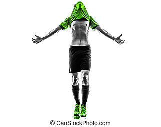 soccer football player young happiness joy man silhouete -...